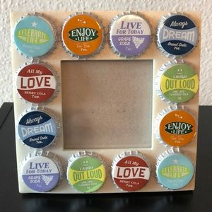 Bottle cap decorated picture frame